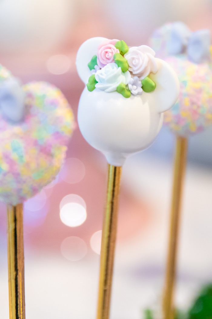 Floral Minnie Mouse Cake Pop from a Pastel Minnie Mouse & Daisy Duck Party on Kara's Party Ideas | KarasPartyIdeas.com (20)