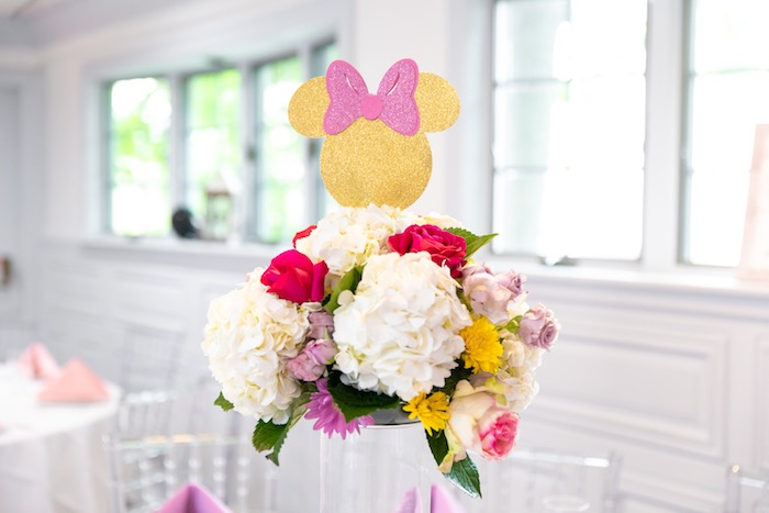 Minnie Mouse Floral Arrangement/Centerpiece from a Pastel Minnie Mouse & Daisy Duck Party on Kara's Party Ideas | KarasPartyIdeas.com (42)