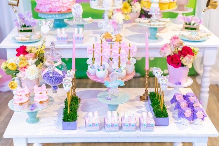 Minnie Mouse Sweet Table from a Pastel Minnie Mouse & Daisy Duck Party on Kara's Party Ideas | KarasPartyIdeas.com (10)