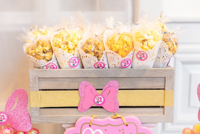Minnie Mouse Popcorn from a Pastel Minnie Mouse & Daisy Duck Party on Kara's Party Ideas | KarasPartyIdeas.com (37)