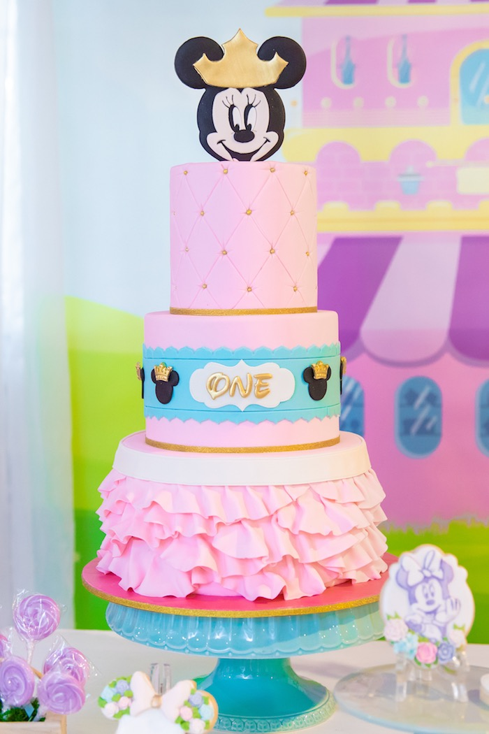 Pink Ruffle Minnie Mouse Cake from a Pastel Minnie Mouse & Daisy Duck Party on Kara's Party Ideas | KarasPartyIdeas.com (35)