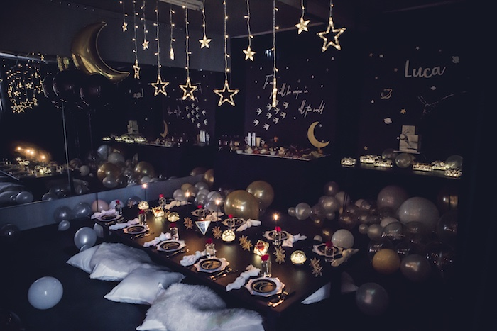Twinkle-lit Little Prince-inspired Guest Table from a Petit Prince Baby Shower on Kara's Party Ideas | KarasPartyIdeas.com (8)