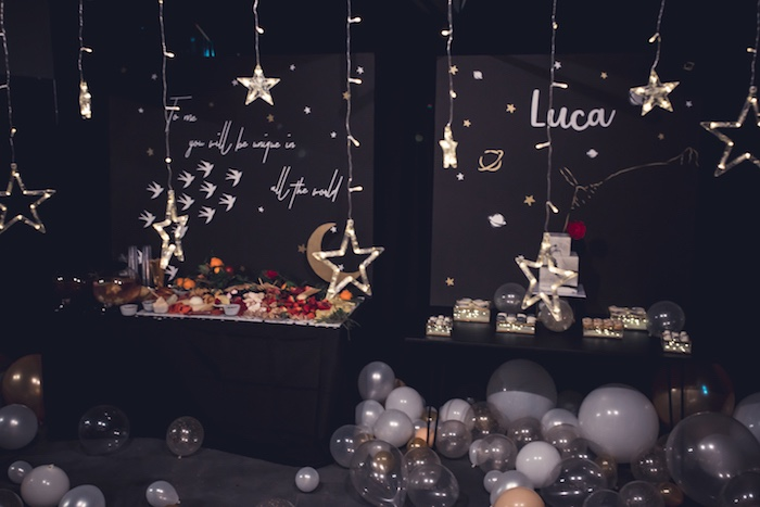 Star-lit Party Tables from a Petit Prince Baby Shower on Kara's Party Ideas | KarasPartyIdeas.com (11)