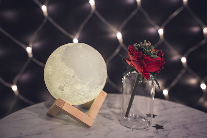 Moon + Rose Table Centerpiece from a Petit Prince Baby Shower on Kara's Party Ideas | KarasPartyIdeas.com (10)