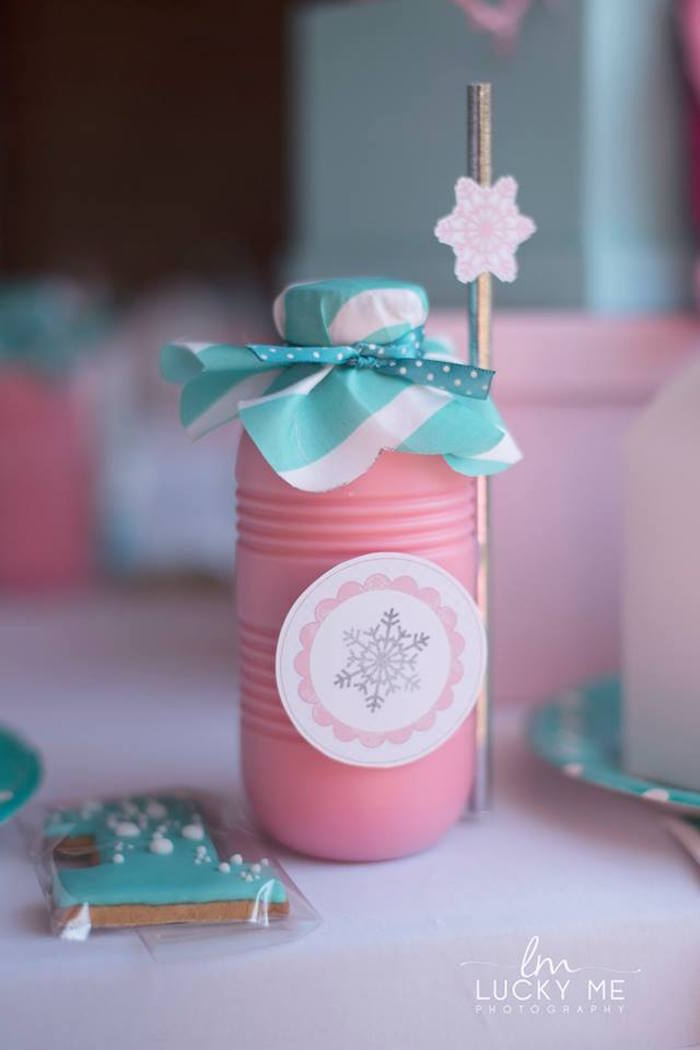 Snowflake Milkshake Bottle from a Pink Piglet Birthday Party on Kara's Party Ideas | KarasPartyIdeas.com (18)