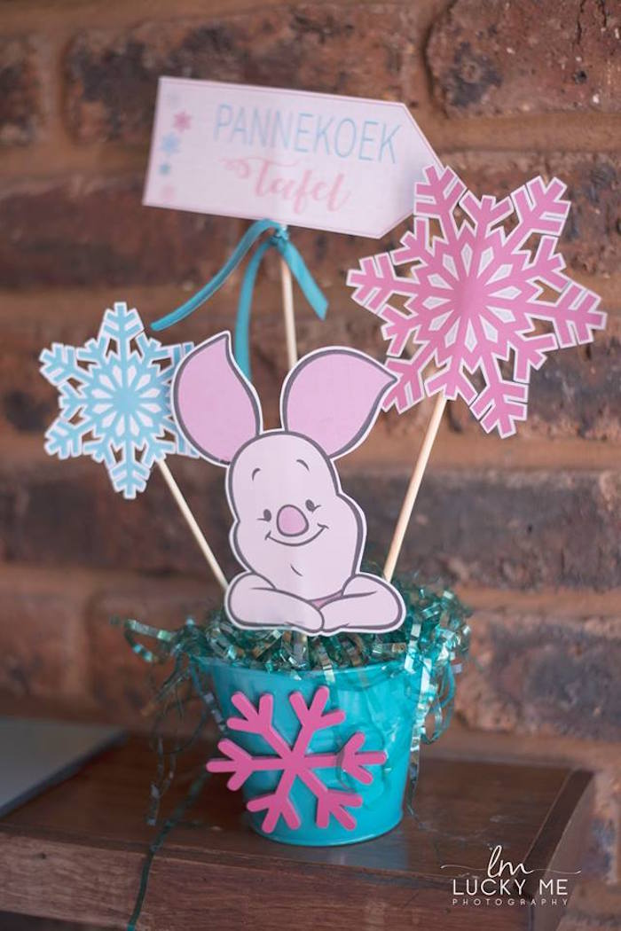 Piglet & Snowflake Bucket Centerpiece from a Pink Piglet Birthday Party on Kara's Party Ideas | KarasPartyIdeas.com (17)