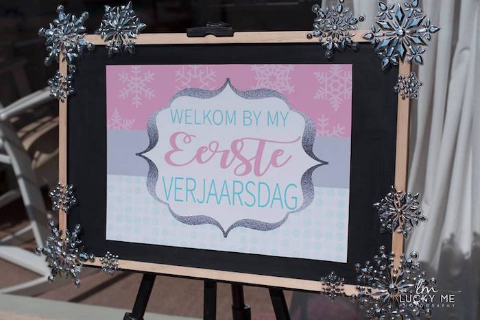 Winter Welcome Party Sign from a Pink Piglet Birthday Party on Kara's Party Ideas | KarasPartyIdeas.com (16)