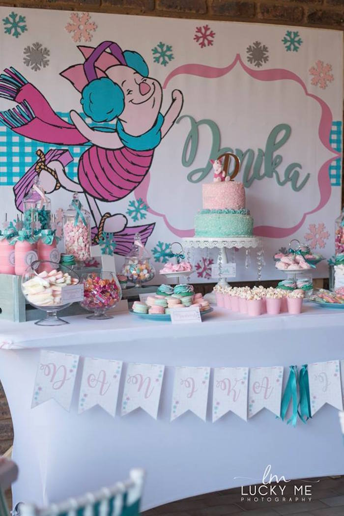 Piglet Party Table from a Pink Piglet Birthday Party on Kara's Party Ideas | KarasPartyIdeas.com (14)