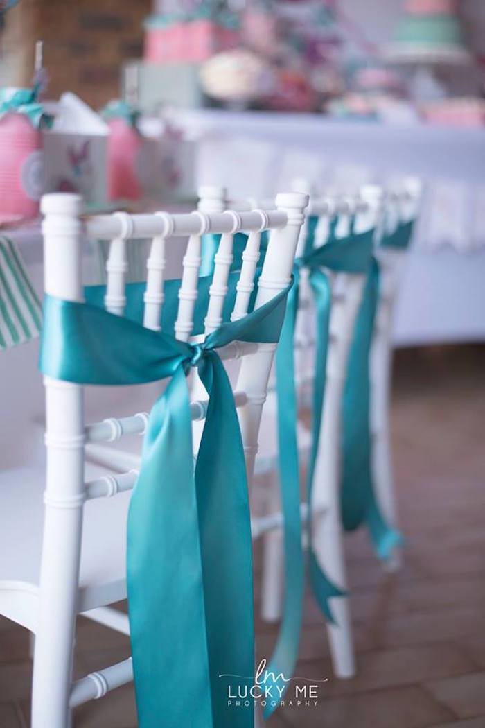 Tiffany Chair with Teal Ribbon Tie-back from a Pink Piglet Birthday Party on Kara's Party Ideas | KarasPartyIdeas.com (13)