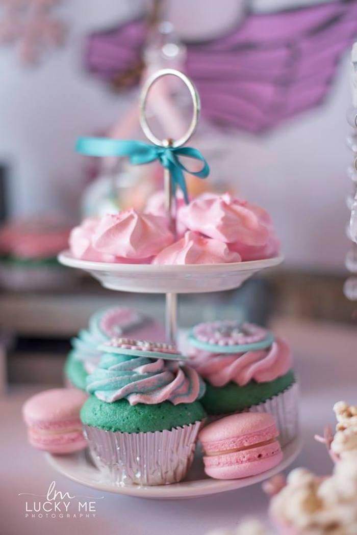 Cupcakes + Meringues + Macarons from a Pink Piglet Birthday Party on Kara's Party Ideas | KarasPartyIdeas.com (12)