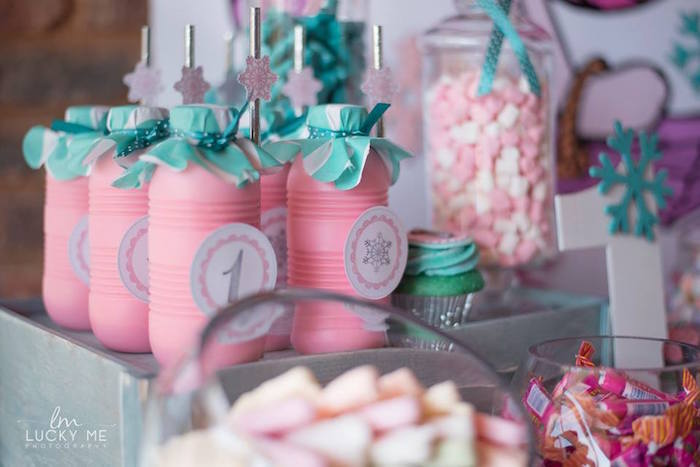 Pink Milkshake Bottles from a Pink Piglet Birthday Party on Kara's Party Ideas | KarasPartyIdeas.com (7)