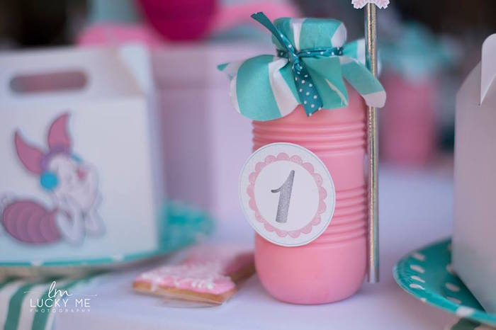 Milkshake Drink Bottle from a Pink Piglet Birthday Party on Kara's Party Ideas | KarasPartyIdeas.com (6)