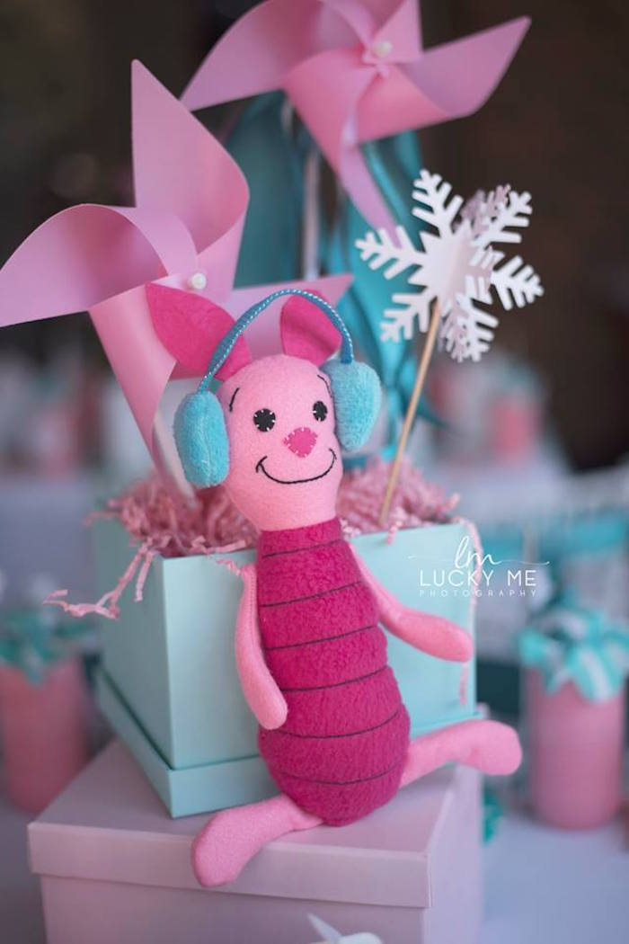 Plush Piglet Gift Box Centerpiece from a Pink Piglet Birthday Party on Kara's Party Ideas | KarasPartyIdeas.com (5)