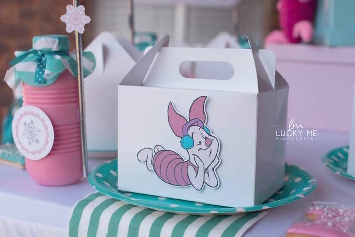 Piglet Gable Lunch Box Table Setting from a Pink Piglet Birthday Party on Kara's Party Ideas | KarasPartyIdeas.com (4)