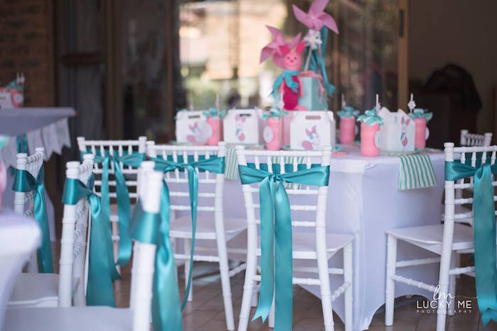 Guest Table from a Pink Piglet Birthday Party on Kara's Party Ideas | KarasPartyIdeas.com (23)