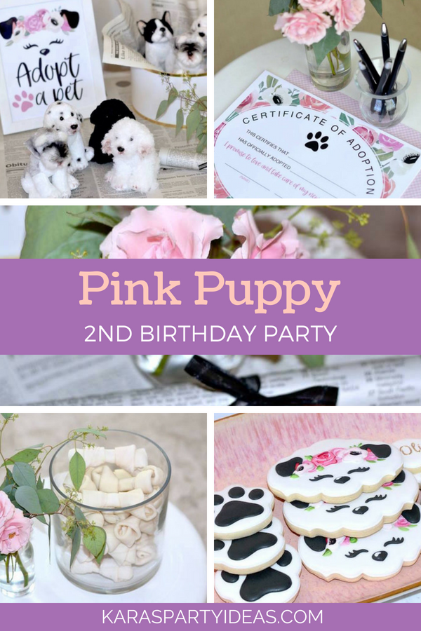 Pink Puppy 2nd Birthday Party via Kara_s Party Ideas - KarasPartyIdeas.com