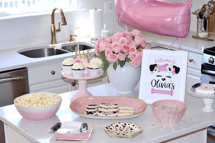 Puppy Chow + Dessert Table from a Pink Puppy 2nd Birthday Party on Kara's Party Ideas | KarasPartyIdeas.com (6)