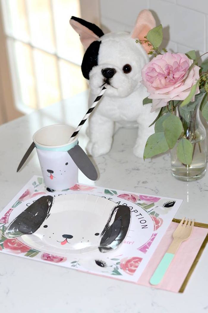 Puppy-inspired Table Setting from a Pink Puppy 2nd Birthday Party on Kara's Party Ideas | KarasPartyIdeas.com (3)