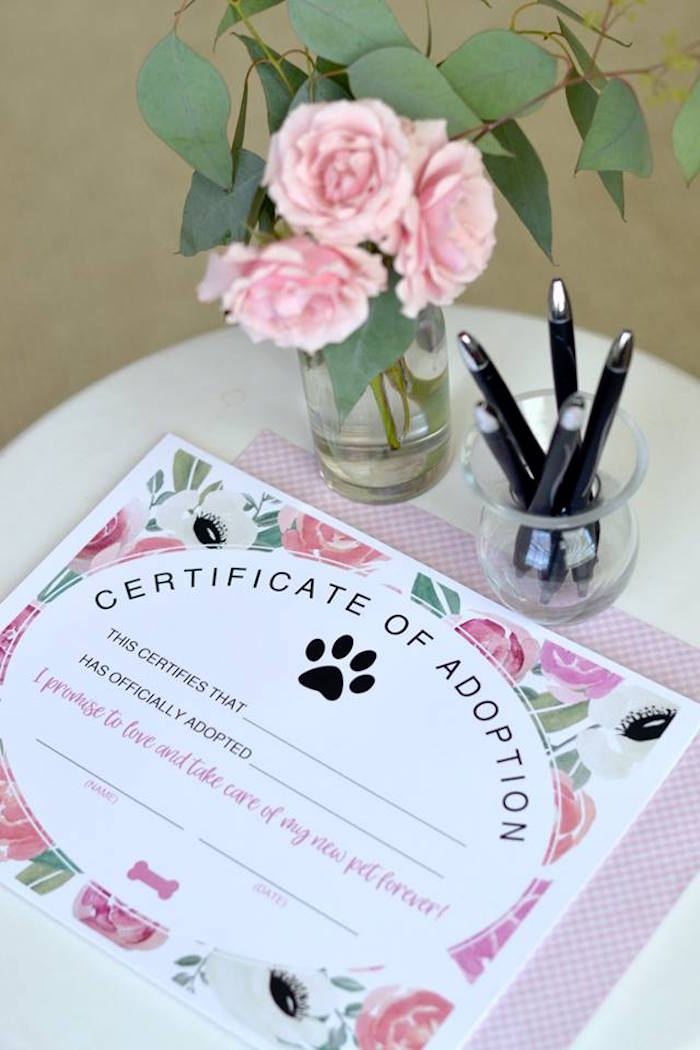 Puppy Adoption Certificate from a Pink Puppy 2nd Birthday Party on Kara's Party Ideas | KarasPartyIdeas.com (16)