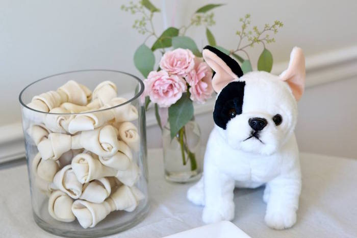 Plush Puppy + Dog Bone Centerpiece from a Pink Puppy 2nd Birthday Party on Kara's Party Ideas | KarasPartyIdeas.com (14)