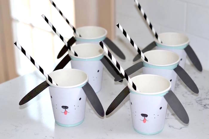 Paper Puppy Cups from a Pink Puppy 2nd Birthday Party on Kara's Party Ideas | KarasPartyIdeas.com (13)
