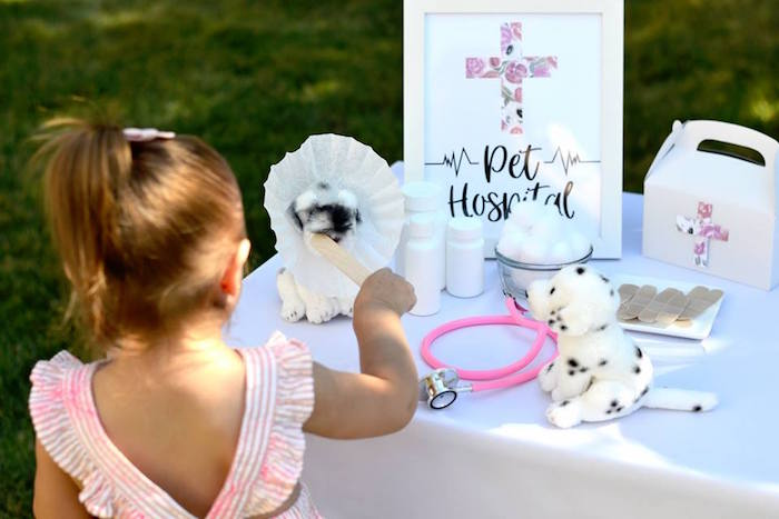 Puppy Pet Hospital from a Pink Puppy 2nd Birthday Party on Kara's Party Ideas | KarasPartyIdeas.com (10)
