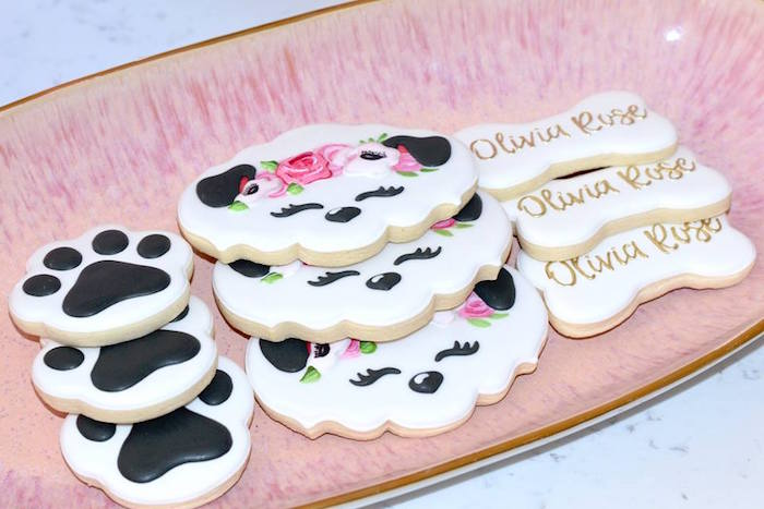 Puppy Cookies from a Pink Puppy 2nd Birthday Party on Kara's Party Ideas | KarasPartyIdeas.com (8)