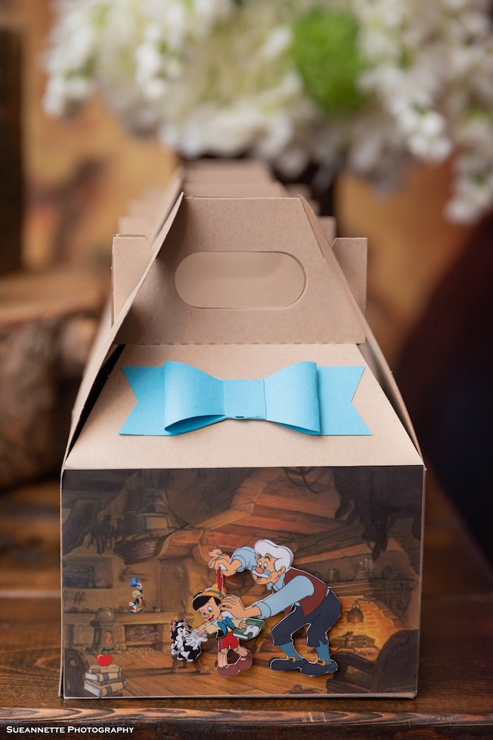3D Pinocchio Gable Favor Boxes from a Pinocchio Birthday Party on Kara's Party Ideas | KarasPartyIdeas.com (20)