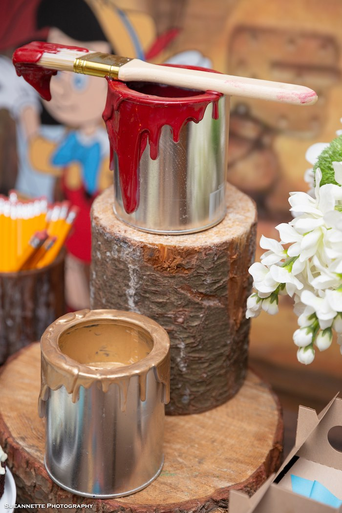 Paint Can Decorations from a Pinocchio Birthday Party on Kara's Party Ideas | KarasPartyIdeas.com (18)