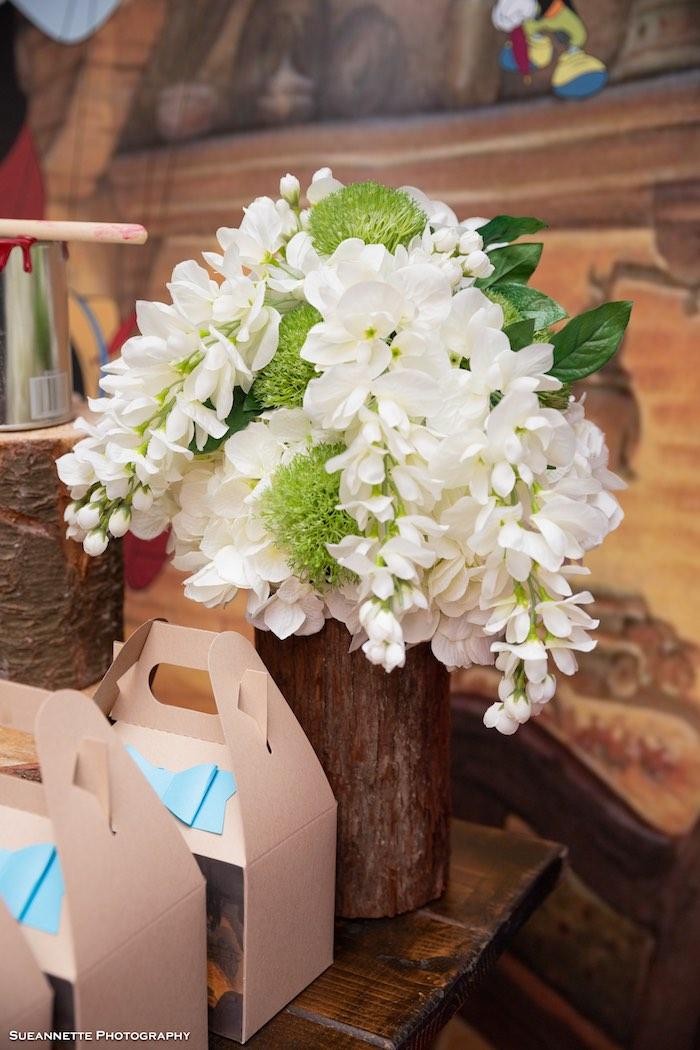 Wood Log Blooms from a Pinocchio Birthday Party on Kara's Party Ideas | KarasPartyIdeas.com (17)