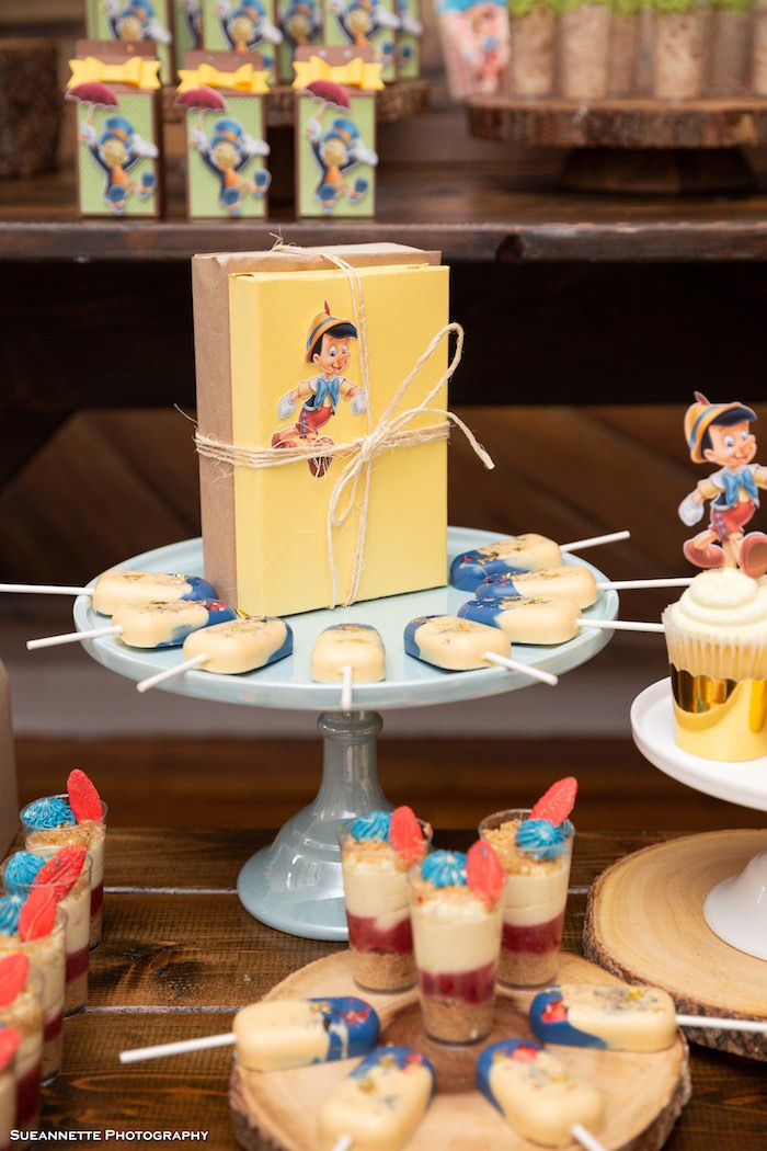 Pinocchio Book + Sweet Pedestal from a Pinocchio Birthday Party on Kara's Party Ideas | KarasPartyIdeas.com (14)