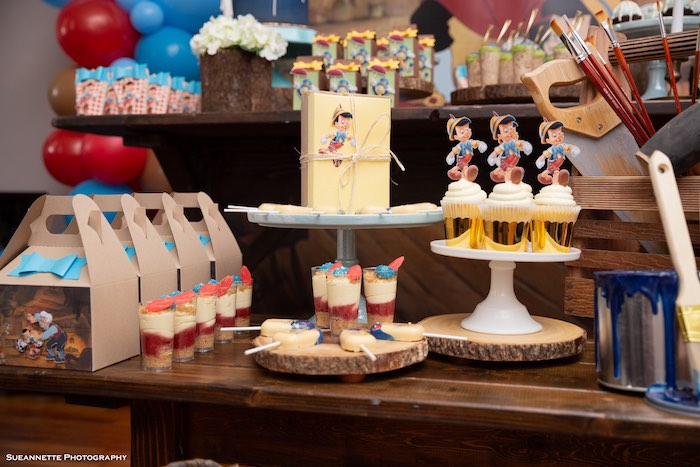 Pinocchio-inspired Sweet Table from a Pinocchio Birthday Party on Kara's Party Ideas | KarasPartyIdeas.com (9)
