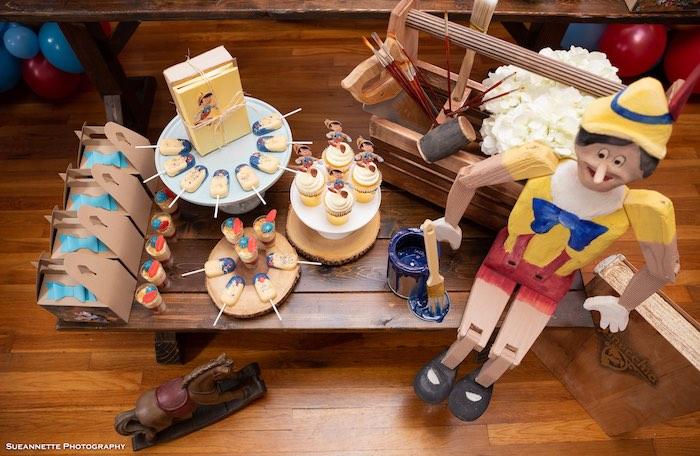 Mini Wooden Sweet Table from a Pinocchio Birthday Party on Kara's Party Ideas   KarasPartyIdeas.com (4)