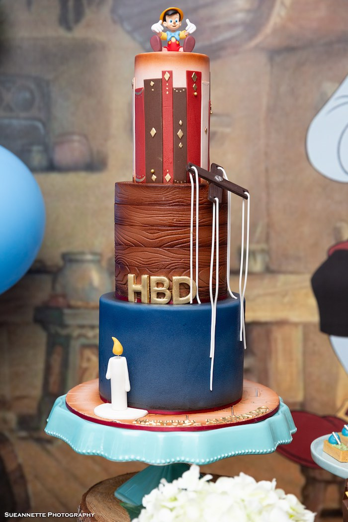 Pinocchio-inspired Cake from a Pinocchio Birthday Party on Kara's Party Ideas | KarasPartyIdeas.com (26)