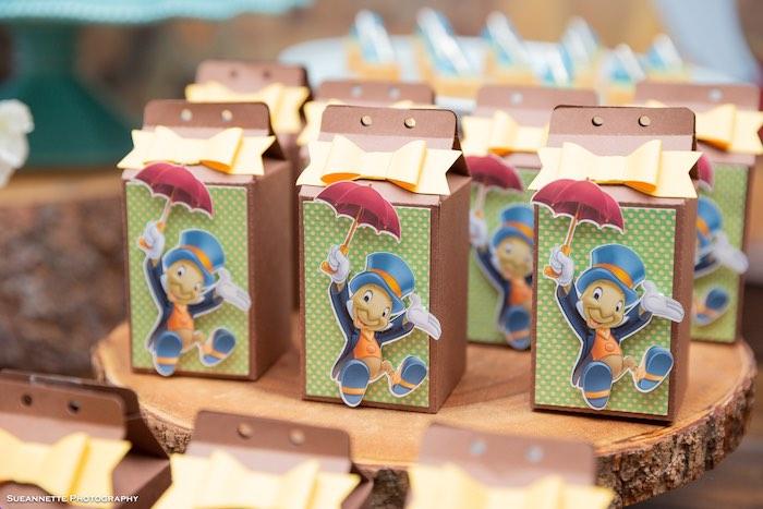 Jiminy Cricket Favor Boxes from a Pinocchio Birthday Party on Kara's Party Ideas | KarasPartyIdeas.com (25)