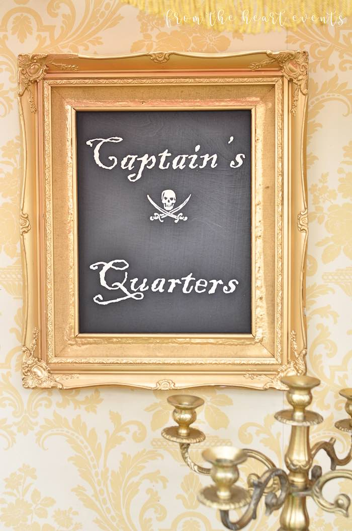 Captain's Quarters Pirate Party Signage from a Pirates of the Caribbean Birthday Party on Kara's Party Ideas | KarasPartyIdeas.com (31)