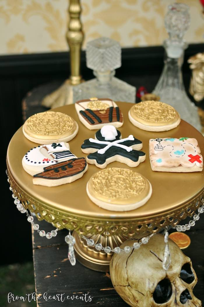 Pirate-inspired Cookies from a Pirates of the Caribbean Birthday Party on Kara's Party Ideas | KarasPartyIdeas.com (30)