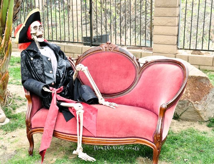 Skeleton Pirate Lounge from a Pirates of the Caribbean Birthday Party on Kara's Party Ideas | KarasPartyIdeas.com (27)