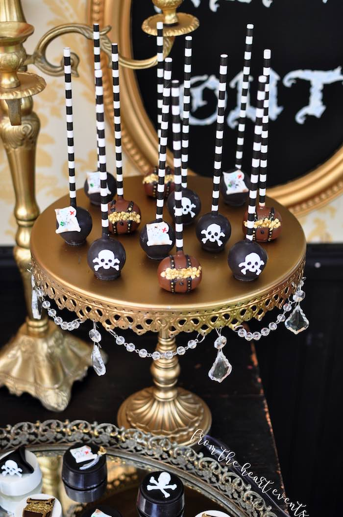 Pirate Cake Pops from a Pirates of the Caribbean Birthday Party on Kara's Party Ideas | KarasPartyIdeas.com (26)