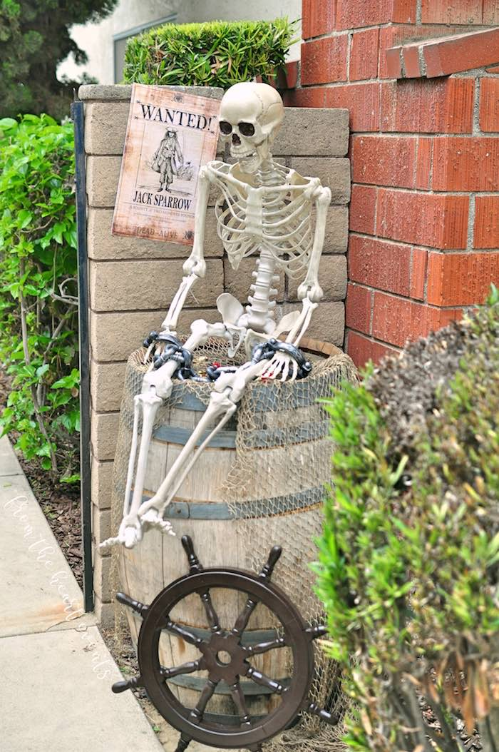 Skeleton & Barrel Wanted + Welcome Decor from a Pirates of the Caribbean Birthday Party on Kara's Party Ideas | KarasPartyIdeas.com (41)