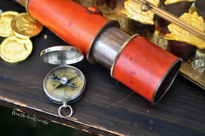 Compass + Telescope from a Pirates of the Caribbean Birthday Party on Kara's Party Ideas | KarasPartyIdeas.com (21)