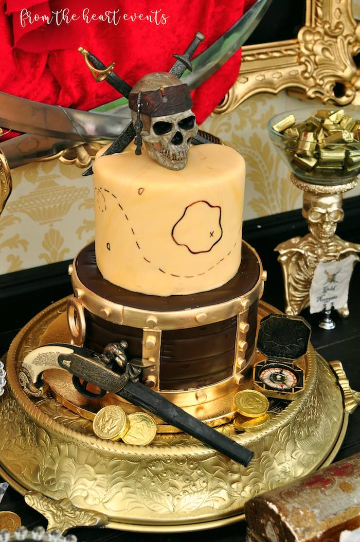 Pirates of the Caribbean Cake from a Pirates of the Caribbean Birthday Party on Kara's Party Ideas | KarasPartyIdeas.com (20)