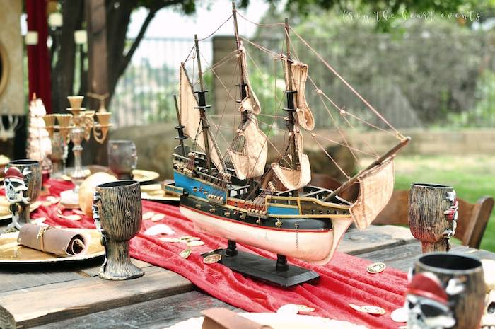 Pirate Ship Table Centerpiece from a Pirates of the Caribbean Birthday Party on Kara's Party Ideas | KarasPartyIdeas.com (19)
