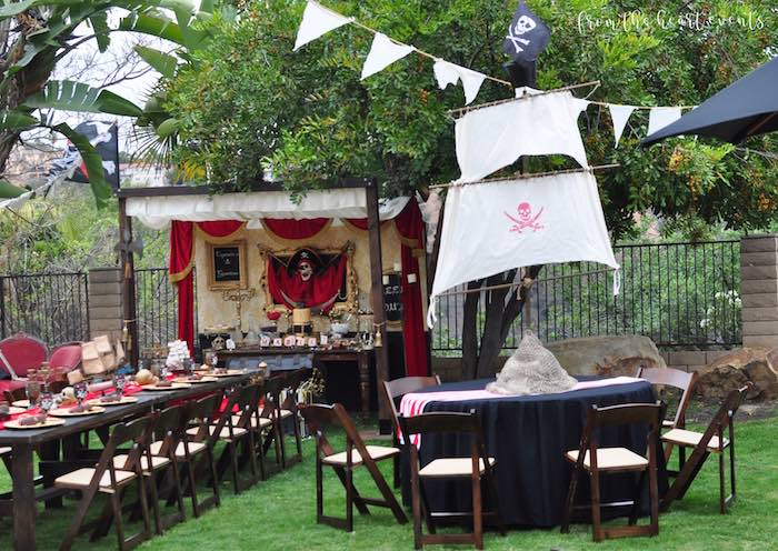 Pirate Party Tables from a Pirates of the Caribbean Birthday Party on Kara's Party Ideas | KarasPartyIdeas.com (18)
