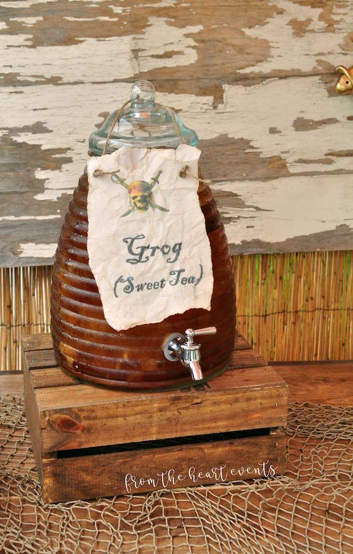 Grog + Pirate-labeled Beverage Dispenser from a Pirates of the Caribbean Birthday Party on Kara's Party Ideas | KarasPartyIdeas.com (15)