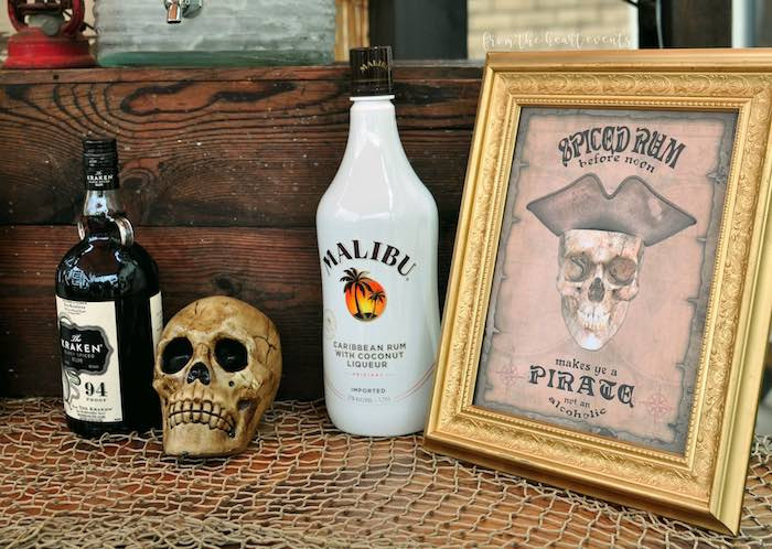 Pirate Beverage Table Decor from a Pirates of the Caribbean Birthday Party on Kara's Party Ideas | KarasPartyIdeas.com (14)