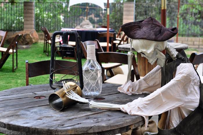 Pirate-inspired Spool Table from a Pirates of the Caribbean Birthday Party on Kara's Party Ideas | KarasPartyIdeas.com (13)
