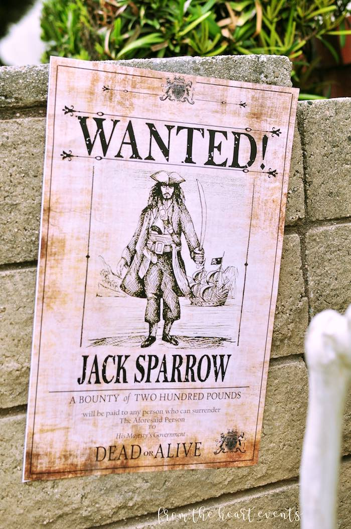 Jack Sparrow Wanted Poster from a Pirates of the Caribbean Birthday Party on Kara's Party Ideas | KarasPartyIdeas.com (40)