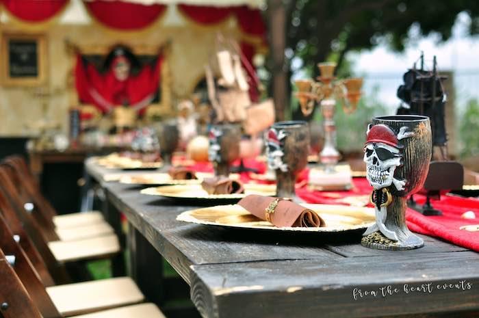 Pirates of the Caribbean-inspired Table Setting from a Pirates of the Caribbean Birthday Party on Kara's Party Ideas | KarasPartyIdeas.com (38)