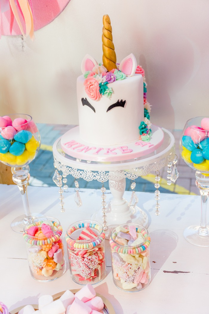 Unicorn Cake + Cakescape from a Rainbows and Unicorns Birthday Party on Kara's Party Ideas | KarasPartyIdeas.com (25)